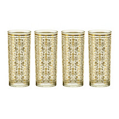 Moroccan Gold Highball Glasses, Set of 4