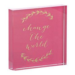 Change The World Pink Glass Word Block