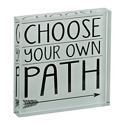 Choose Your Own Path Glass Word Block