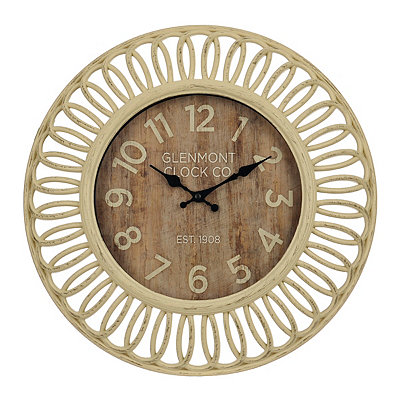 Open Weave Washed Wall Clock