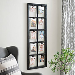 Black Window Pane 10-Opening Clip Collage Frame
