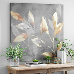 Gold Leaves on Gray Canvas Art Print