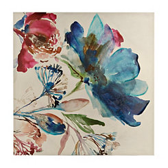 Turquoise Watercolor Floral Canvas Art Print