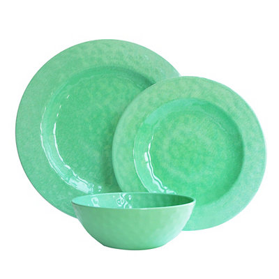 Green 12-pc. Melamine Dinnerware Set