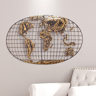 Gold World Map Metal Plaque
