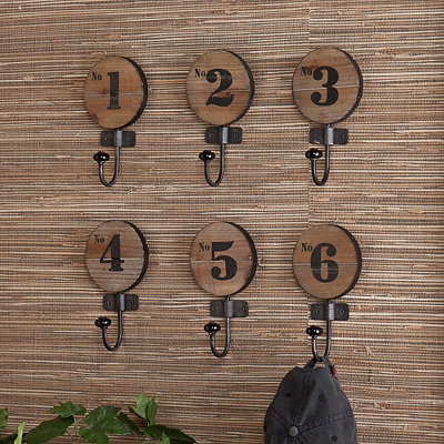 Dani Numbered Wall Hooks, Set of 6