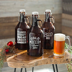 Assorted Amber Glass Growlers