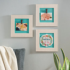 White Sentimental Collage Clip Frames, Set of 3