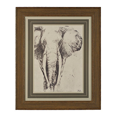 Charcoal Elephant Framed Art Print