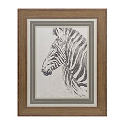 Charcoal Zebra Wooden Framed Art Print