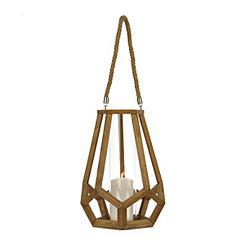 Geometric Wood Frame Lantern