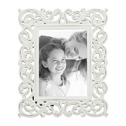 White Scrolled Cutout Picture Frame, 5x7