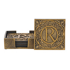 Edward Scroll Monogram R Coaster Set