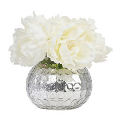 Peony Silver Mercury Glass Arrangement