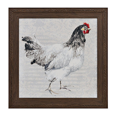 Damask Chicken Framed Art Print
