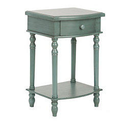 Blue Curved 1-Drawer Side Table