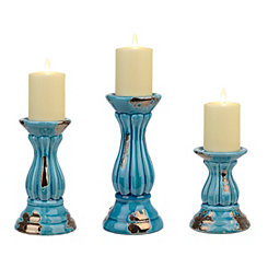Rustic Turquoise Pillar Candlesticks, Set of 3