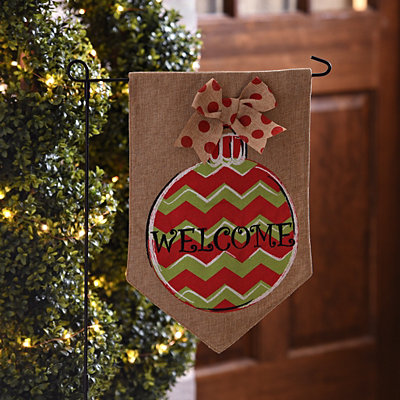 Chevron Ornament Burlap Welcome Flag Set