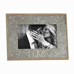 Galvanized Love Picture Frame, 4x6