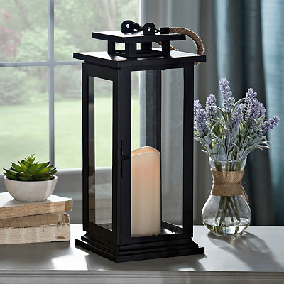 Black Metal Lantern with LED Candle
