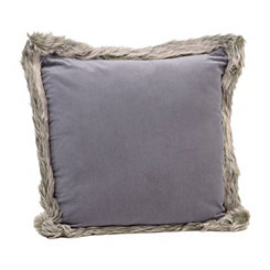 Gray Velvet Faux Fur Pillow
