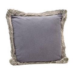 Gray Velvet Faux Fur Pillow