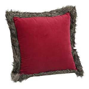 Red Velvet Faux Fur Pillow