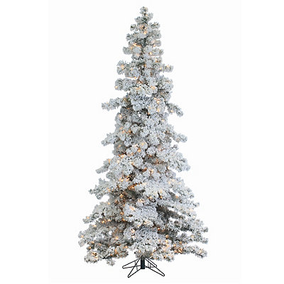 7.5 ft. Pre-Lit Flocked Spruce Christmas Tree