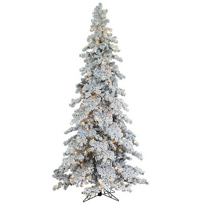 9 ft. Pre-Lit Flocked Spruce Christmas Tree