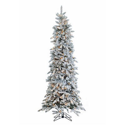 7.5 ft. Pre-Lit Flocked Pencil Pine Christmas Tree