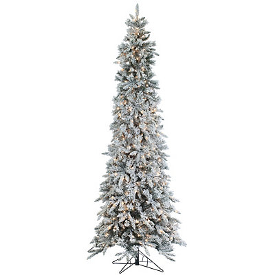 9 ft. Pre-Lit Flocked Pencil Pine Christmas Tree