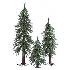 Pre-Lit Alpine Christmas Trees, Set of 3