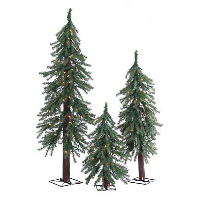 Pre-Lit Alpine Christmas Trees, Set of 3