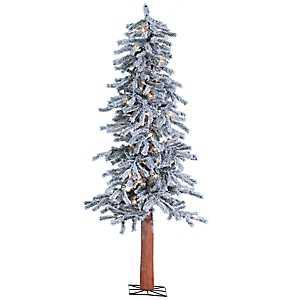 5 ft. Pre-Lit Flocked Alpine Christmas Tree