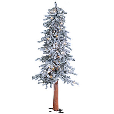 5 ft. Pre-Lit Flocked Alpine Christmas Tree