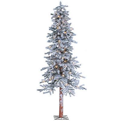 6 ft. Pre-Lit Flocked Alpine Christmas Tree