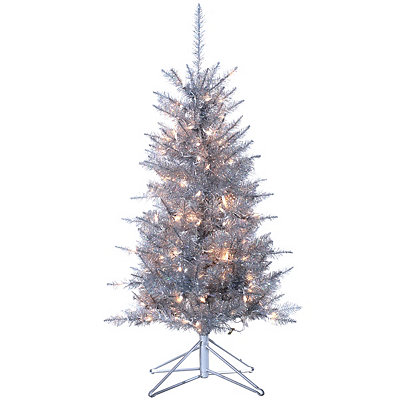 4 ft. Pre-Lit Silver Tinsel Christmas Tree