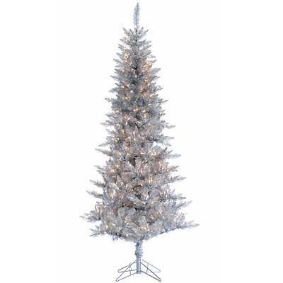 7.5 ft. Pre-Lit Silver Tinsel Christmas Tree