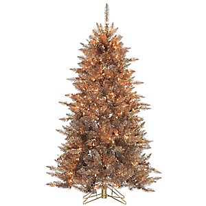 5 ft. Lit Silver and Copper Fir Christmas Tree