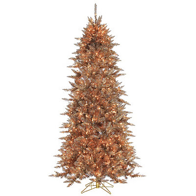 7.5 ft. Lit Silver and Copper Fir Christmas Tree