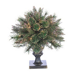 2 ft. Pre-Lit Gold Glitter Cashmere Pine Topiary