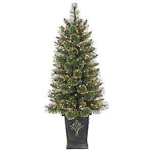 Pre-Lit Gold Glitter Cashmere Pine Topiary