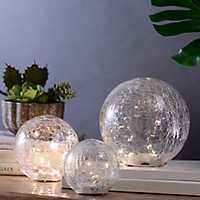 Crackled Glass LED Gazing Orbs, Set of 3