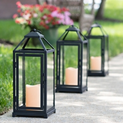Cutout Black Metal Lantern with LED Candle