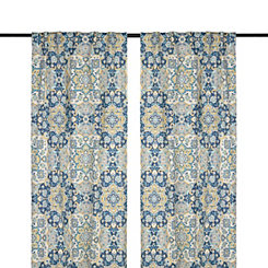 Blue Caspian Curtain Panel Set, 96 in.