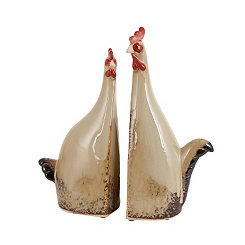 Tall Ceramic Roosters, Set of 2