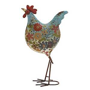 Blue Floral Metal Rooster Statue