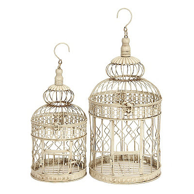 Cream Round Metal Bird Cage Planter, Set of 2