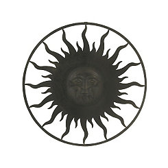 Metal Black Sun Face Plaque
