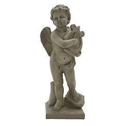 Stone Angel Harpist Statue